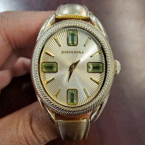 Judith Ripka Oval Case Gold-Tone Womens Watch